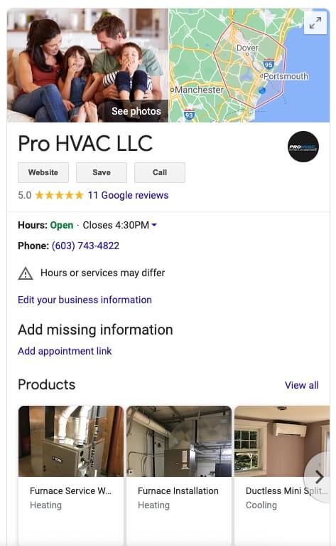 HVAC Google My Business